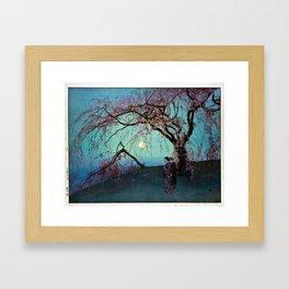 Hiroshi Yoshida Kumoi Cherry Trees Framed Art Print