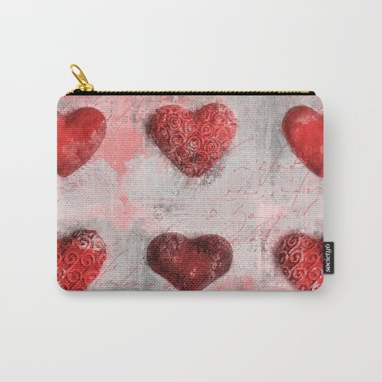 Heart Love red mixed media pattern Carry-All Pouch