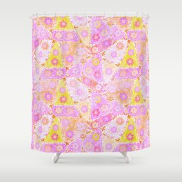 Pastel Patchwork Flower Garden, Soft Lavender, Lilac Purple and Pink Floral Quilt Repeat Pattern Shower Curtain