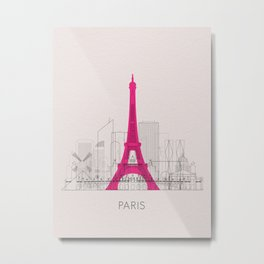 Paris Landmarks Poster Metal Print