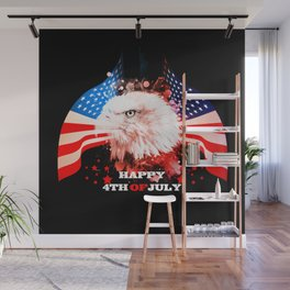 Independence Day, eagle with USA flag Wall Mural