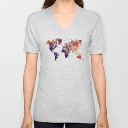 World map Unisex V-Neck