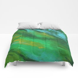 Square Green Abstract Acrylic Painting Comforters