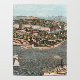 Vintage Pictorial Map of Fort Monroe Virginia Poster