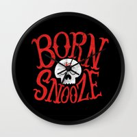 onesie Wall Clocks featuring Born to Snooze by Chris Piascik