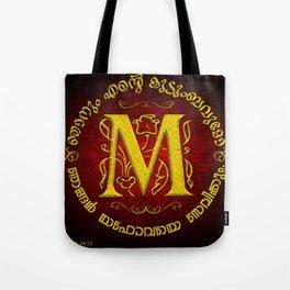 Joshua 24:15 - (Gold on Red) Monogram M Tote Bag