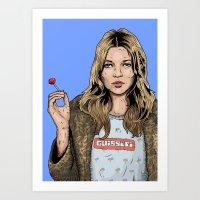 kate moss Art Prints featuring Kate Moss  by guissëpi