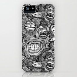 BITE ME roses and orchids BLACK WHITE iPhone Case