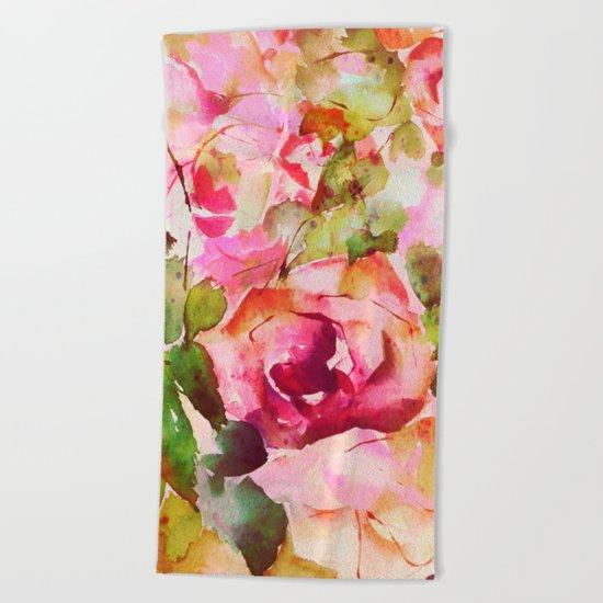 roses abstraites Beach Towel