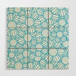 Field of daisies - teal Wood Wall Art