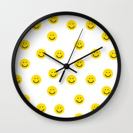 Smiley faces white yellow happy simple smiley pattern smile face kids nursery boys girls decor Wall Clock