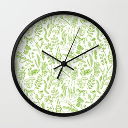 woodland walk acid green Wall Clock