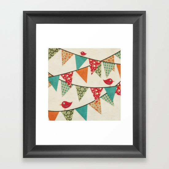 Home Birds 'N' Bunting. Framed Art Print