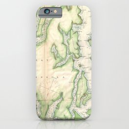 Vintage Map of The Puget Sound (1867) iPhone Case
