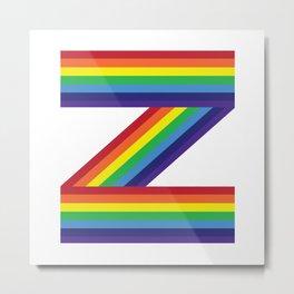 Rainbow Monogram - Letter Z Metal Print