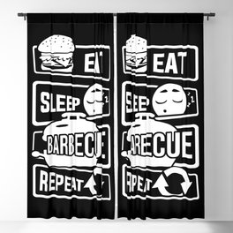 Eat Sleep Barbecue Repeat - Grill BBQ Smoker Blackout Curtain