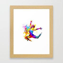 Hip hop dancer jumping Framed Art Print