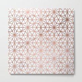 Modern rose gold stars geometric pattern Christmas white marble Metal Print