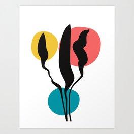 Zen Abstract Minimal CMYK Flowers Art Print