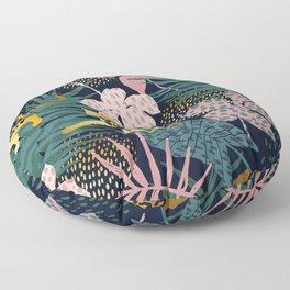 Exotic Golden Jungle Leopard & Pink Palm Leaf Geometric Pattern Floor Pillow