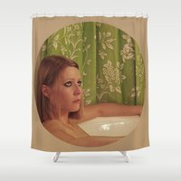 tenenbaum Shower Curtains featuring MARGOT TENENBAUM by VAGABOND