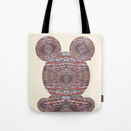 Perception: Checkered red and grey creature Tote Bag