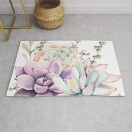 Succulents Mint and Purple by Nature Magick Rug