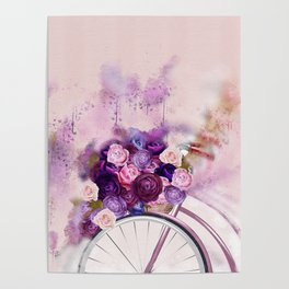 Vintag Bicycle and Flowers Poster