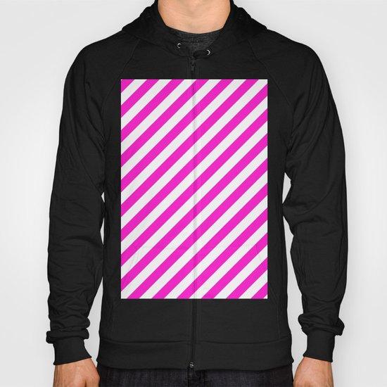 Diagonal Stripes (Hot Magenta/White) Hoody