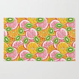 Summer pattern Orange grapefruit and kiwi fruit Rug