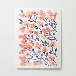 Cherry Blossoms – Peach & Navy Palette Metal Print