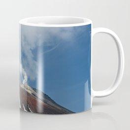 Top of volcanic cone, fumaroles activity of volcano, steam and gas emissions from crater Coffee Mug