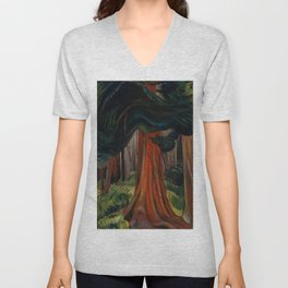 Emily Carr - Red Cedar - Canada, Canadian Oil Painting - Group of Seven Unisex V-Neck