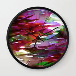 FERVOR 3 Colorful Bold Abstract Autumn Fall Crimson Red Purple Mauve Green Watercolor Painting Art Wall Clock