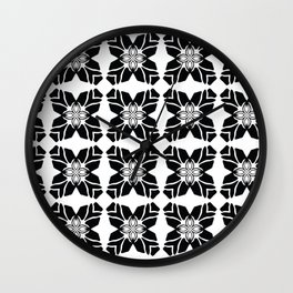 Black on White Leaf Quilt Wall Clock