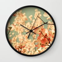 large Wall Clocks featuring Pink by Olivia Joy StClaire