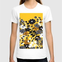SUNFLOWER TOILE YELLOW GOLD BLACK GRAY AND WHITE T-shirt