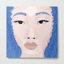 Beautiful Face - True Blue Curly Haired Girl Illustrative Portrait Metal Print