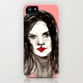 The girl with the red lips iPhone Case