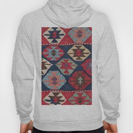 Red Band Diamond Kilim // 19th Century Colorful Brown Cream Peach Navy Blue Ornate Accent Pattern Hoody