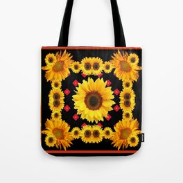 Black Western Blanket Style Sunflowers Tote Bag