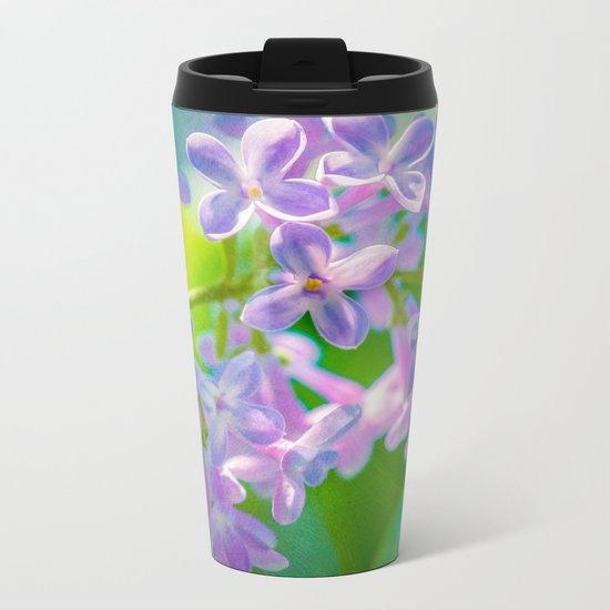 Purple Lilac Flowers Metal Travel Mug