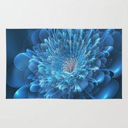3D Blue Flower Rug