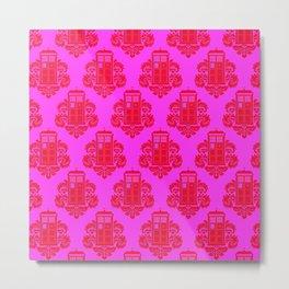 pink tardis dr who pattern Metal Print