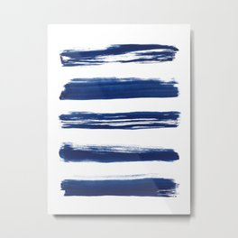 Indigo Brush Strokes | No. 2 Metal Print