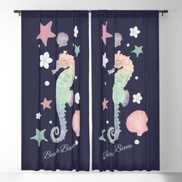 Beach Bum Seahorse Design(navy) Blackout Curtain