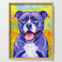 Colorful American Pitbull Terrier Dog Serving Tray