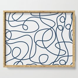Doodle Line Art | Petrol Blue Lines on White Background Serving Tray