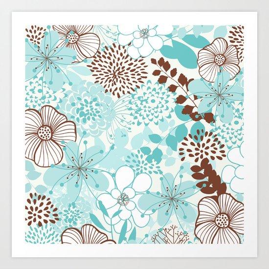 Aqua Spring Floral Art Print