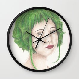 Green Haired Ramona Wall Clock